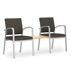 Two Guest Chairs with Center Table Set in Solid Fabric, 76039