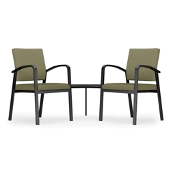 Two Guest Chairs with Corner Table Set in Solid Fabric, 76041