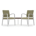 Two Guest Chairs with Corner Table Set in Premium Upholstery, 76042