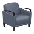 Arc Collection Polyurethane Arm Chair with Wood Arms, 76206