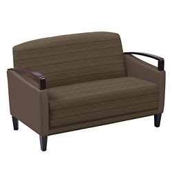Arc Collection Fabric or Fabric/Polyurethane Loveseat with Wood Arms, 76207