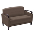 Arc Collection Polyurethane Loveseat with Wood Arms, 76208