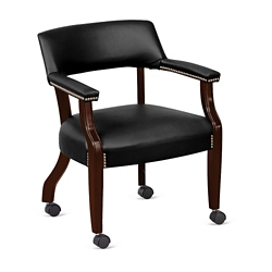 Monroe Faux Leather Captain's Guest Chair with Casters, 76230