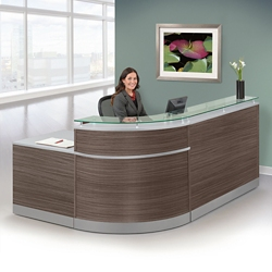 "Esquire Glass Top Reception Desk - 95""W x 64""D, 76239-1"