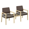 Two Polyurethane or Fabric/Polyurethane Guest Chairs with Connecting Table, 76308
