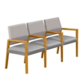 Polyurethane or Fabric/Polyurethane Three Seat Sofa with Center Arms, 76311