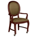 Round Back Dining Chair with Arms and Front Casters, 76358