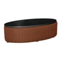 Oval Laminate Table with Striped Fabric Sides, 76401