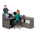 "Reception L-Desk with Glass Counter - 72""W, 76410"