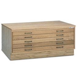 "53""W Five Drawer Wood Plan File, 70024"