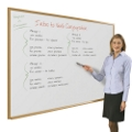 6' x 4' Wood Frame Porcelain Whiteboard, 80254