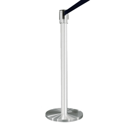 Crowd Control Post In Satin Aluminum with 12' Strap, 85005