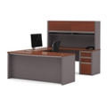 Bowfront U-Desk with Hutch, 16102