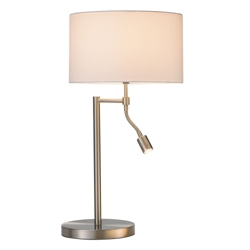 Satin Steel Table Lamp with Reading Light, 87564