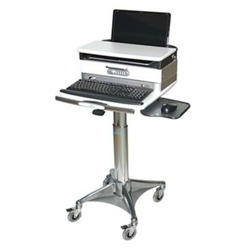 Locking Adjustable Height Laptop Cart with Lockable Drawer, 61002
