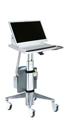 Angled LCD Cart with Hot Swappable Column-Mounted Battery, 26510