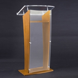 H Style Wood and Acrylic Lectern, 43306
