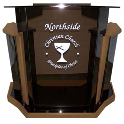 Smoke Acrylic and Wood Veneer Lectern, 43308