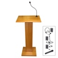 Wood Veneer Lectern with Handheld Wireless Mic, 85104