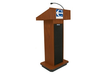 "Single Column Customizable Logo Lectern with Sound - 47""H, 43488"