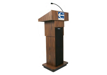 "Adjustable Height Customizable Logo Lectern with Sound - 39-47""H, 43489"