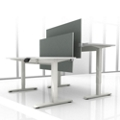 "Set of Two 72""W Height Adjustable Desks with Privacy Screens, 14147"