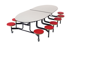 Elliptical Cafeteria Table with 12 Stools -11', 46933