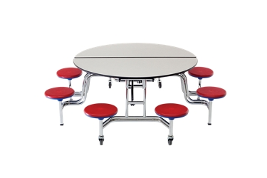 "Round Cafeteria Table with Eight Stools - 85""DIA, 46937"