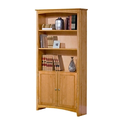"Six Shelf Solid Wood Bookcase with Doors - 84""H, 35008"