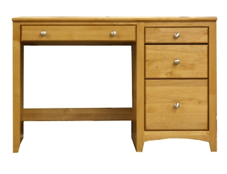 "Solid Wood Single Pedestal Four Drawer Desk - 45.375""W, 16050"
