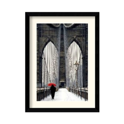Brooklyn Bridge Meets Red by Michael Cahill - Framed Print, 87631