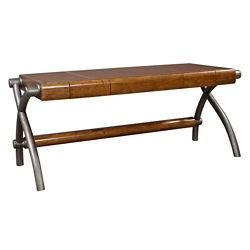 """Executive Writing Desk with Faux Leather Top - 73""""W, 10459"""