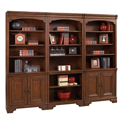 "18 Shelf Bookcase Wall with Doors - 96""W, 32226"