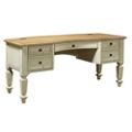 """Two Tone Bowfront Half Pedestal Desk - 66""""W, 10415"""