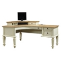 "Two Tone Curved L-Desk with Corner Hutch - 72""W, 10467"