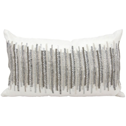 "kathy ireland by Nourison Silver Beaded Rectangular Pillow - 20"" x 12"", 82251"
