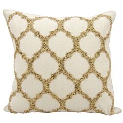 "kathy ireland by Nourison Beaded Lattice Square Pillow - 20"" x 20"", 82252"