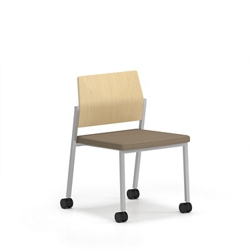 Armless Laminate Back Guest Chair with Casters, 76639