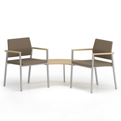 Two Upholstered Guest Chairs With Corner Table, 76661