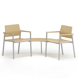 Two Laminate Guest Chairs With Corner Table, 76663