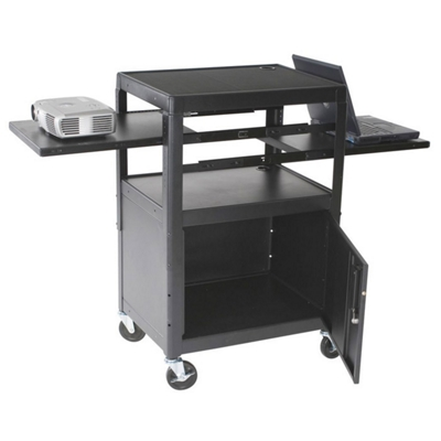 av cart with cabinet and dual sliding shelves - Av Cart