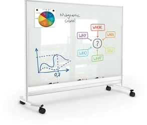 Mobile Magnetic Glass Board 4'H x 6'W, 83318