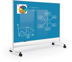 Mobile Colored Magnetic Glass Board 4'H x 6'W, 83319