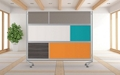 Mobile Acrylic, Whiteboard and Laminate Partition, 22486