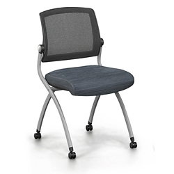 Nex Armless Mesh Back Fabric Nesting Chair with Dual-Purpose Casters, 51657