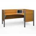 "Right L-Desk with Four 43""H Privacy Panels, 13214"
