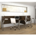 "Two Person Side-by-Side L-Desk Workstation with Three 43""H Privacy Panels, 13216"