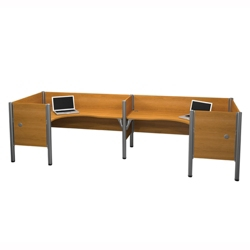 "Two Person Back-to-Back L-Desk Workstation with Seven 43""H Privacy Dividers, 13223"