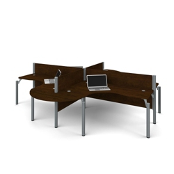 "Four Rounded L-Desks with 43""H Panels, 14450"