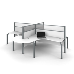 "Four Rounded L-Desks with 55.5""H Panels, 14451"